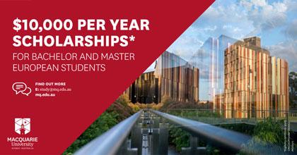 Stipendium på 10 000 AUD från Macquarie University